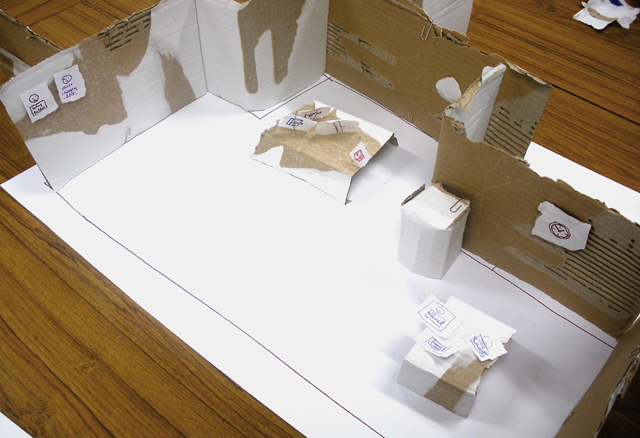 Cardboard model of our cardboard office